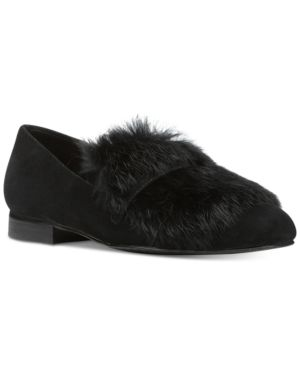 DONALD J PLINER LILIAN FUR LOAFER FLATS WOMEN'S SHOES