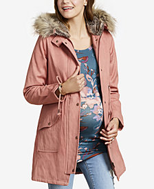 Jessica Simpson Maternity Faux-Fur Hooded Twill Coat