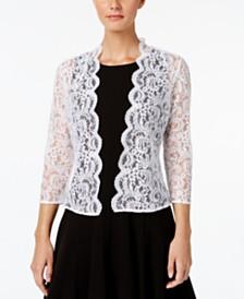 Calvin Klein Three-Quarter-Sleeve Sheer Lace Shrug