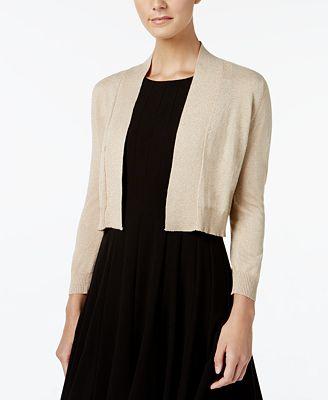 Calvin Klein Petite Three-Quarter-Sleeve Glitter Shrug Cardigan