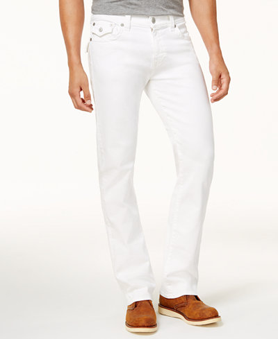 True Religion Men's White Straight Fit Stretch Jeans
