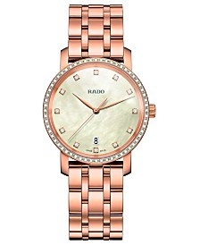 Rado Women's Swiss DiaMaster Diamond (0.3 ct. t.w.) Rose Gold-Tone PVD Stainless Steel Bracelet Watch 33mm