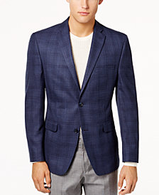 Alfani Men's Slim-Fit Blue Plaid Sport Coat, Created for Macy's