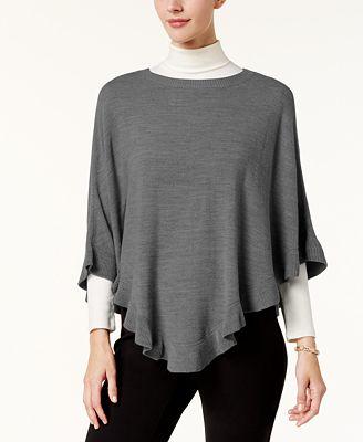 Karen Scott Ruffled Poncho Sweater Created For Macys Sweaters