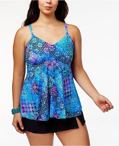 2891d8ed71c ... Swim Solutions Plus Size Craft Fair Underwire Tankini Top   Swim Skirt