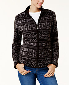 Karen Scott Petite Printed Fleece Jacket, Created for Macy's