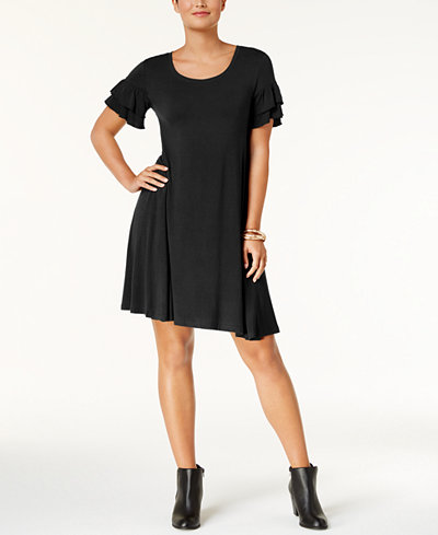 Style & Co Petite Ruffle-Sleeve Knit Dress, Created for Macy's