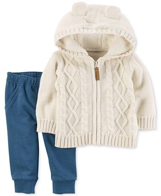 Carter's 2-Pc. Cotton Hooded Sweater & Pants Set, Baby Boys (0-24 ...