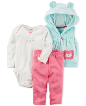 Carters 3Pc Hooded Vest Happy Bodysuit  Pants Set Baby Girls (024 months)