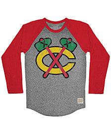Retro Brand Men's Chicago Blackhawks Reggie Raglan Long Sleeve T-Shirt