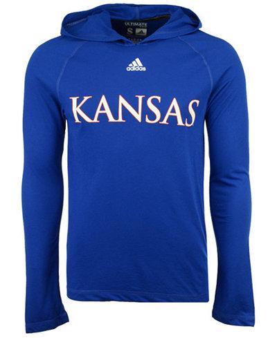 adidas Men's Kansas Jayhawks Mark My Words Long Sleeve Hooded T-Shirt
