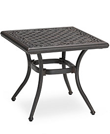 "Cast Aluminum 20"" Square Outdoor End Table, Created for Macy's"