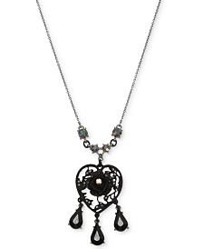 Betsey Johnson Hematite-Tone Filigree Heart Flower & Jet Stone Pendant Necklace