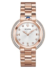 Bulova Women's Rubaiyat Diamond (1/4 ct. t.w.) Rose Gold-Tone Stainless Steel Bracelet Watch 35mm