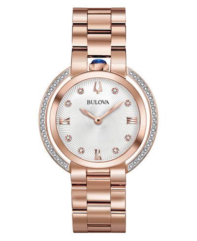 Bulova Women's Rubaiyat Diamond (1/4 ct. t.w.) Rose Gold-Tone Stainless Steel Bracelet Watch 35mm
