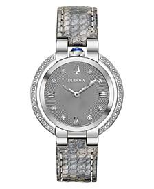 Women's Rubaiyat Diamond (1/4 ct. t.w.) Gray Leather Strap Watch 35mm