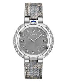 Bulova Women's Rubaiyat Diamond (1/4 ct. t.w.) Gray Leather Strap Watch 35mm