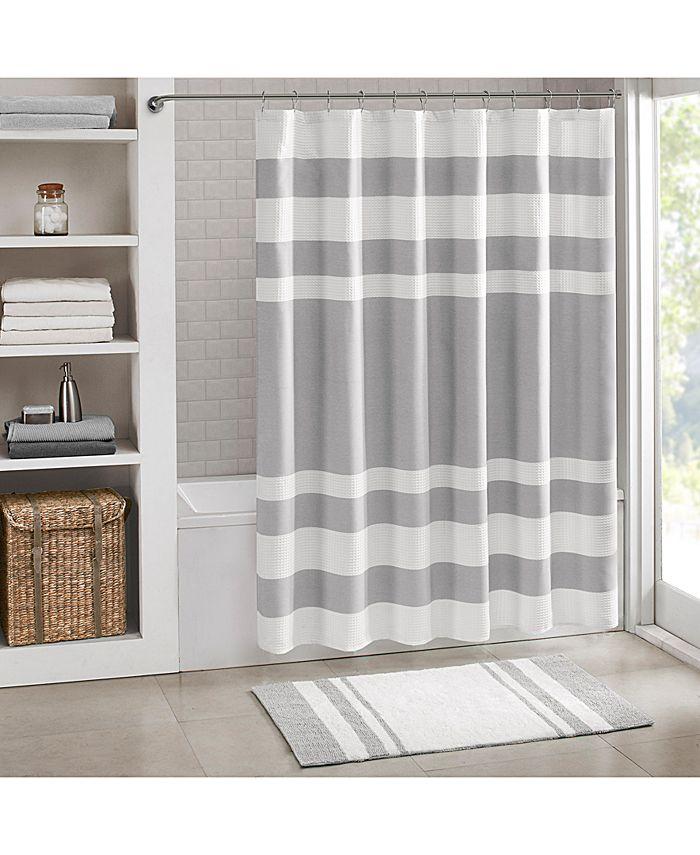 "Madison Park - Spa 3M Scotchgard™ Waffle-Weave Stripe 72"" Square Shower Curtain"