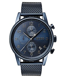 Hugo Boss Men's Chronograph Navigator Blue Stainless Steel Mesh Bracelet Watch 44mm