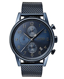 BOSS Hugo Boss Men's Chronograph Navigator Blue Stainless Steel Mesh Bracelet Watch 44mm