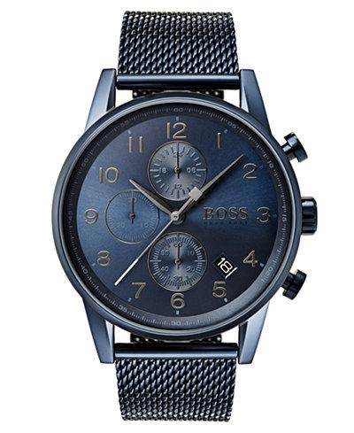 BOSS Hugo Boss Men's Chronograph Navigator Blue Stainless Steel Mesh Bracelet Watch 44mm