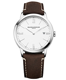 Baume & Mercier Men's Swiss Classima Brown Leather Strap Watch 40mm