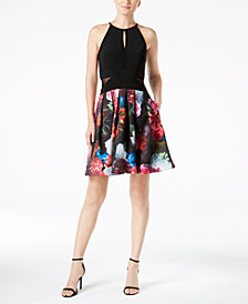 Xscape Illusion Floral-Print Fit & Flare Dress