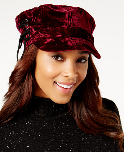 August Hats Crushed Velvet Lace-Up Newsboy Cap