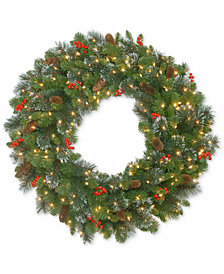 "National Tree Company 30"" Crestwood Spruce Wreath With Red Berries, Pine Cones, Glitter & 70 Battery-Operated LED Lights"