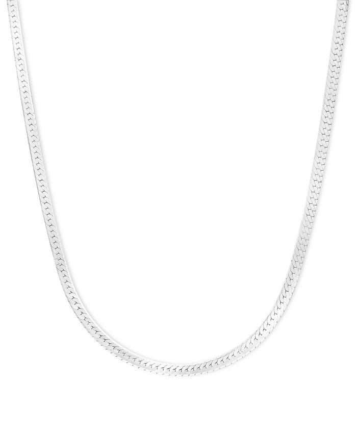 "Macy's - 14k White Gold Necklace, 18"" Flat Herringbone Chain"