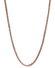 """14k Rose Gold Necklace, 20"""" Wheat Chain"""