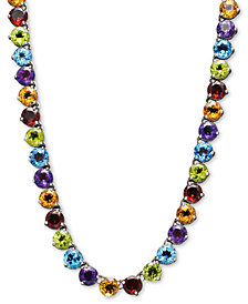 Sterling Silver Necklace, Round Multi-Stone (38-9/40 ct. t.w.)