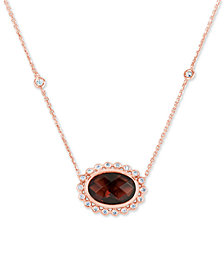 Rhodolite Garnet (4 ct. t.w.) & Diamond (1/5 ct. t.w.) Pendant Necklace in 14k Rose Gold