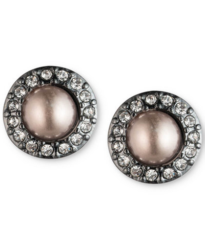 Carolee Hematite-Tone Pavé & Gray Imitation Pearl Stud Earrings