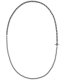 Michael Kors Hematite-Tone Gray Imitation Pearl Strand-to-Choker Necklace
