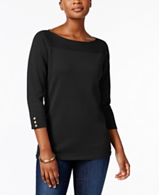 Karen Scott Petite Cotton Button-Trim Sweater, Created for Macy's