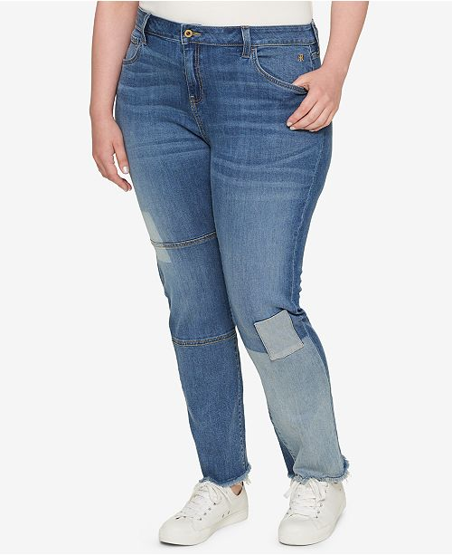 e86a8513e38 Tommy Hilfiger. Plus Size Patched Raw-Hem Straight-Leg Jeans