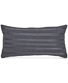 "Donna Karan Home Moonscape Corded Stripe Charcoal 11"" x 22"" Decorative Pillow"