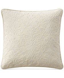 "Waterford Charlize Embroidered Gray 18"" Square Decorative Pillow"