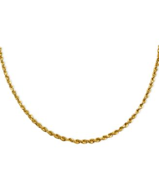 "24"" Diamond Cut Rope Chain Necklace (3mm) in 14k Gold"