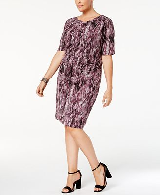 Connected Plus Size Printed Sarong Dress