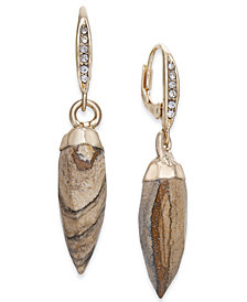 Paul & Pitü Naturally Gold-Tone Jasper Stone Spike Drop Earrings
