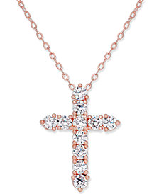 Danori Rose Gold-Tone Cubic Zirconia Cross Pendant Necklace, Created for Macy's
