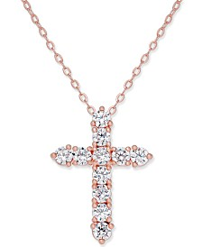 Eliot Danori Silver-Tone Crystal Cross Pendant Necklace, Created for Macy's