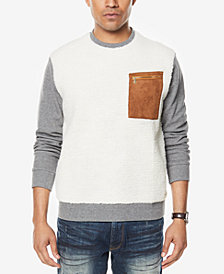 Sean John Men's Colorblocked Mixed-Media Sweatshirt, Created for Macy's