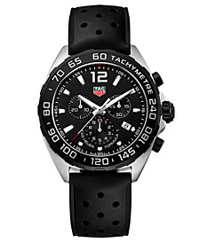 TAG Heuer Men's Formula 1 Chronograph Black Rubber Strap Watch 43mm