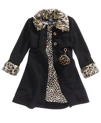 Pink & Violet 2-Pc. Animal-Print Dress & Coat Set, Toddler Girls ...