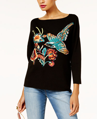 Anna Sui Loves INC International Concepts Embroidered Sweater, Created for Macy's