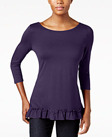 Love Scarlett Petite Ruffle-Hem Top, Created for Macy's
