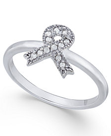Diamond Cancer Awareness Ribbon Ring (1/10 ct. t.w.) in Sterling Silver